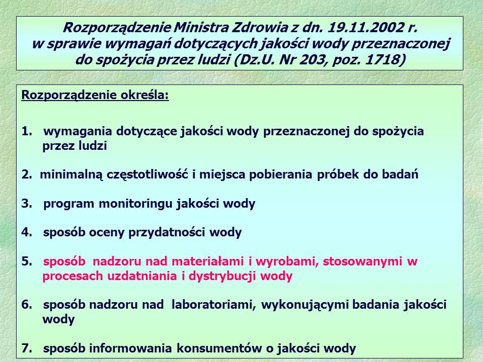 Rozporządzenie Ministra Zdrowia z dn. 19.11.2002 r. w sprawie wymagań dotyczących jakości wody przeznaczonej do spożycia przez ludzi (Dz.U. Nr 203, po