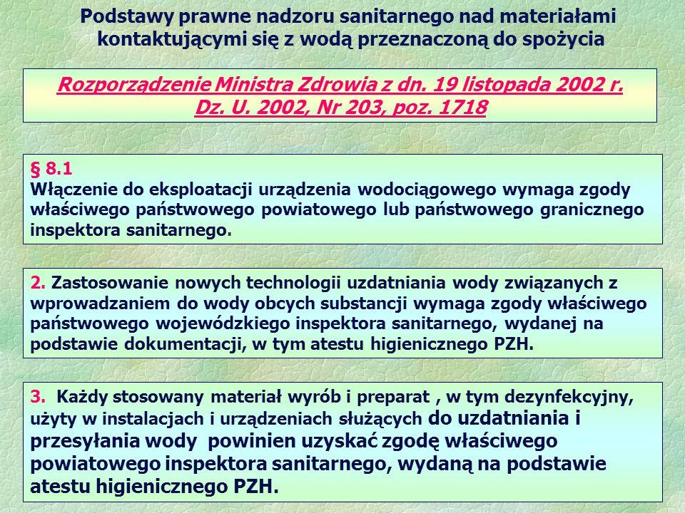 Podstawy prawne nadzoru sanitarnego nad materiałami kontaktującymi się z wodą przeznaczoną do spożycia Rozporządzenie Ministra Zdrowia z dn. 19 listop