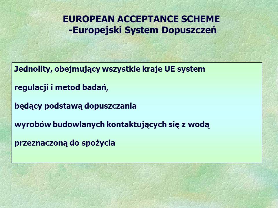 -Europejski System Dopuszczeń Jednolity, obejmujący wszystkie kraje UE system regulacji i metod badań, będący podstawą dopuszczania wyrobów budowlanych kontaktujących się z wodą przeznaczoną do spożycia