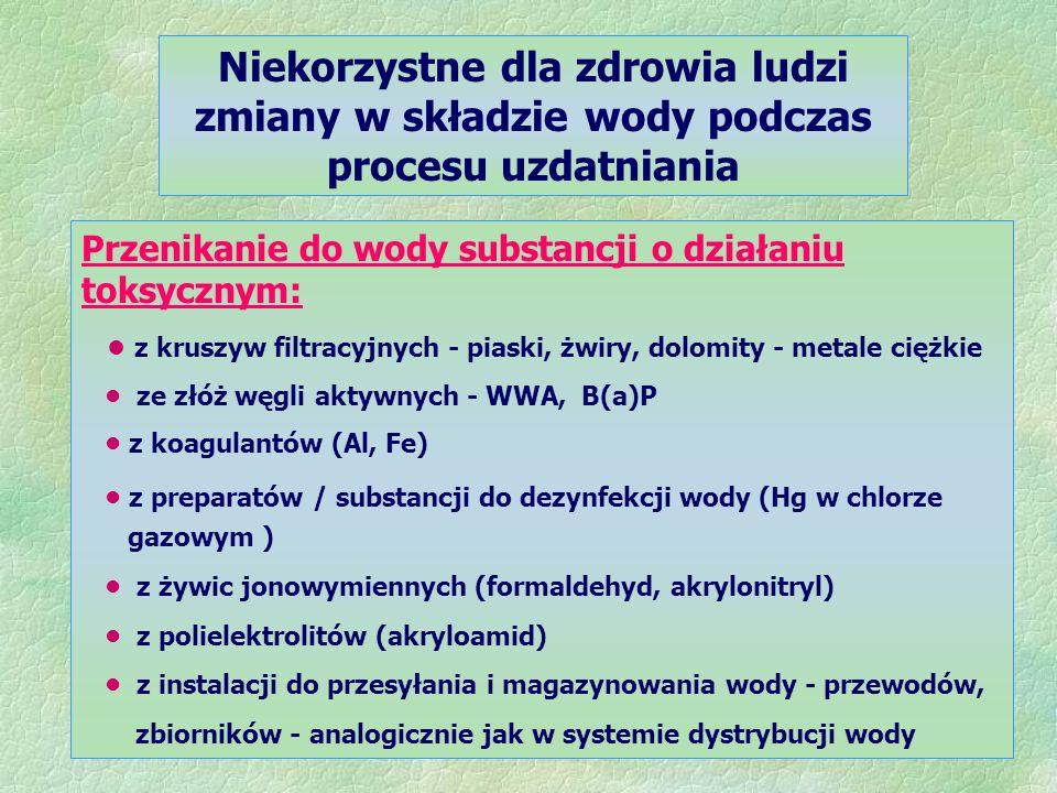 Niekorzystne dla zdrowia ludzi zmiany w składzie wody podczas procesu uzdatniania Przenikanie do wody substancji o działaniu toksycznym: z kruszyw filtracyjnych - piaski, żwiry, dolomity - metale ciężkie ze złóż węgli aktywnych - WWA, B(a)P z koagulantów (Al, Fe) z preparatów / substancji do dezynfekcji wody (Hg w chlorze gazowym ) z żywic jonowymiennych (formaldehyd, akrylonitryl) z polielektrolitów (akryloamid) z instalacji do przesyłania i magazynowania wody - przewodów, zbiorników - analogicznie jak w systemie dystrybucji wody