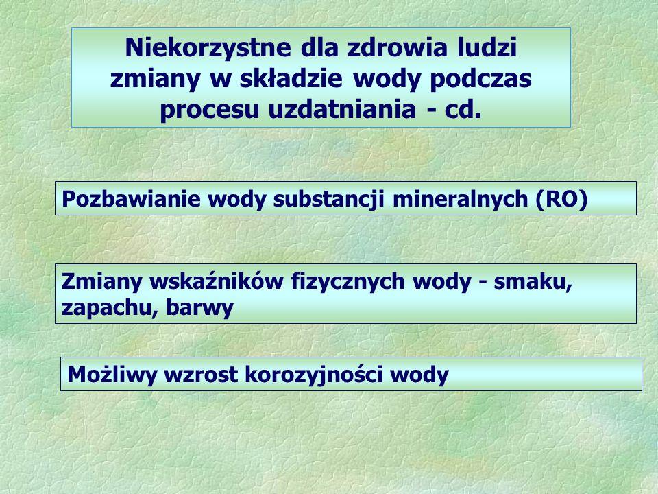 Niekorzystne dla zdrowia ludzi zmiany w składzie wody podczas procesu uzdatniania - cd. Pozbawianie wody substancji mineralnych (RO) Zmiany wskaźników