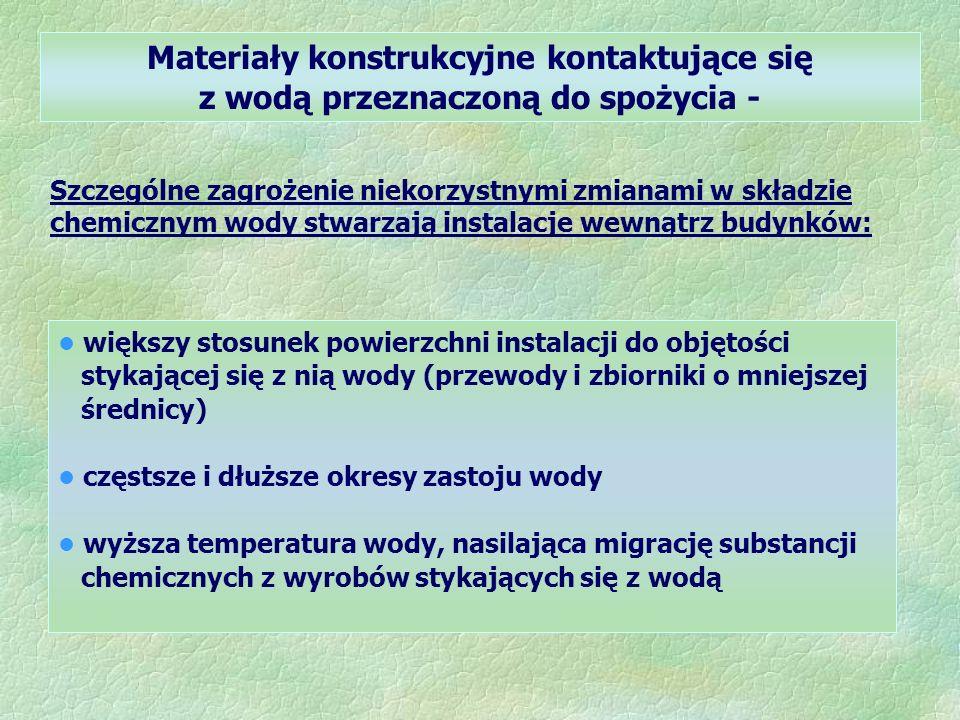 Materiały konstrukcyjne kontaktujące się z wodą przeznaczoną do spożycia - Szczególne zagrożenie niekorzystnymi zmianami w składzie chemicznym wody stwarzają instalacje wewnątrz budynków: większy stosunek powierzchni instalacji do objętości stykającej się z nią wody (przewody i zbiorniki o mniejszej średnicy) częstsze i dłuższe okresy zastoju wody wyższa temperatura wody, nasilająca migrację substancji chemicznych z wyrobów stykających się z wodą