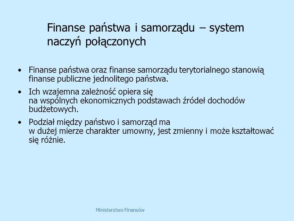 Ministerstwo Finansów Finanse państwa i samorządu – system naczyń połączonych Finanse państwa oraz finanse samorządu terytorialnego stanowią finanse p