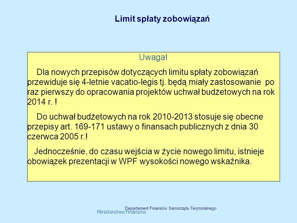 Ministerstwo Finansów Uwaga! Dla nowych przepisów dotyczących limitu spłaty zobowiązań przewiduje się 4-letnie vacatio-legis tj. będą miały zastosowan