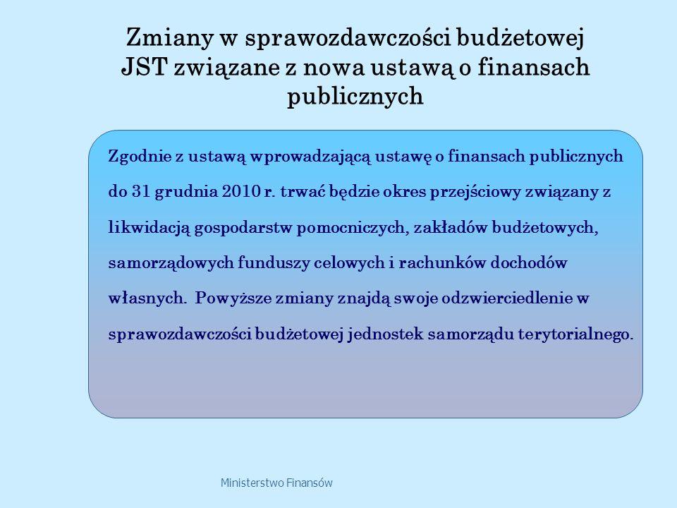 Ministerstwo Finansów Zgodnie z ustawą wprowadzającą ustawę o finansach publicznych do 31 grudnia 2010 r. trwać będzie okres przejściowy związany z li
