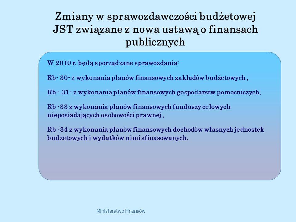 Ministerstwo Finansów W 2010 r. będą sporządzane sprawozdania: Rb- 30- z wykonania planów finansowych zakładów budżetowych, Rb - 31- z wykonania planó