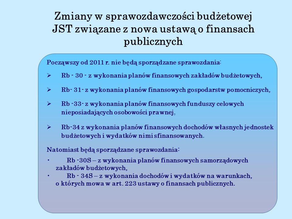 Ministerstwo Finansów Począwszy od 2011 r. nie będą sporządzane sprawozdania: Rb - 30 - z wykonania planów finansowych zakładów budżetowych, Rb- 31- z