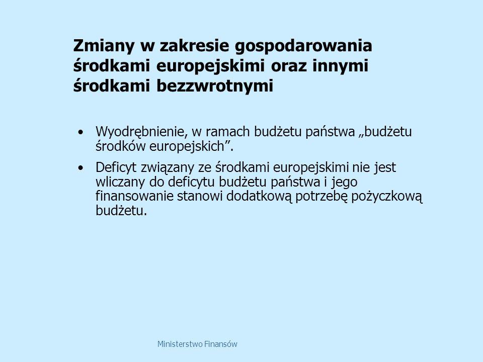 Ministerstwo Finansów Zmiany w zakresie gospodarowania środkami europejskimi oraz innymi środkami bezzwrotnymi Wyodrębnienie, w ramach budżetu państwa budżetu środków europejskich.