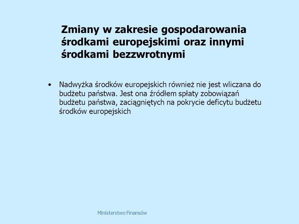 Ministerstwo Finansów Nadwyżka środków europejskich również nie jest wliczana do budżetu państwa. Jest ona źródłem spłaty zobowiązań budżetu państwa,