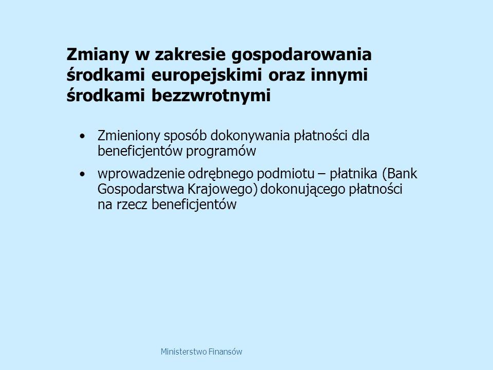 Ministerstwo Finansów Zmiany w zakresie gospodarowania środkami europejskimi oraz innymi środkami bezzwrotnymi Zmieniony sposób dokonywania płatności dla beneficjentów programów wprowadzenie odrębnego podmiotu – płatnika (Bank Gospodarstwa Krajowego) dokonującego płatności na rzecz beneficjentów