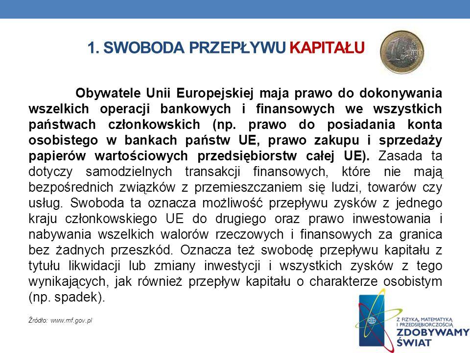 1. SWOBODA PRZEPŁYWU KAPITAŁU Obywatele Unii Europejskiej maja prawo do dokonywania wszelkich operacji bankowych i finansowych we wszystkich państwach