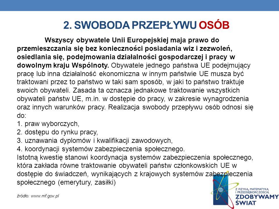 2. SWOBODA PRZEPŁYWU OSÓB Wszyscy obywatele Unii Europejskiej maja prawo do przemieszczania się bez konieczności posiadania wiz i zezwoleń, osiedlania