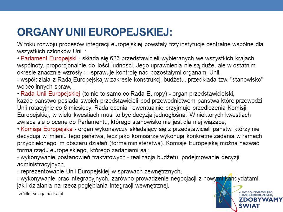 ORGANY UNII EUROPEJSKIEJ: W toku rozwoju procesów integracji europejskiej powstały trzy instytucje centralne wspólne dla wszystkich członków Unii : Pa