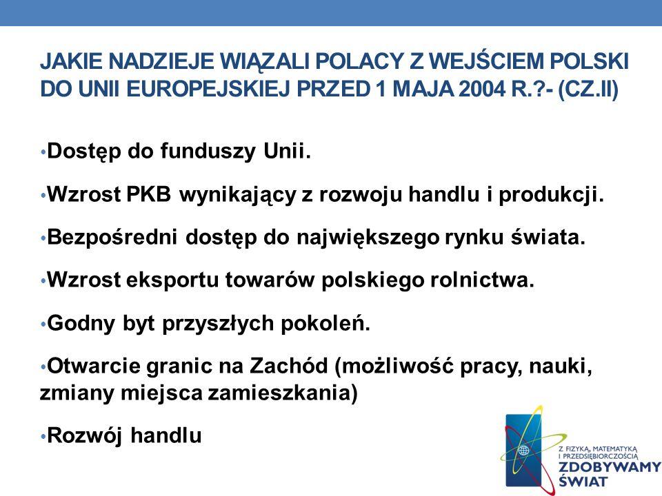 JAKIE NADZIEJE WIĄZALI POLACY Z WEJŚCIEM POLSKI DO UNII EUROPEJSKIEJ PRZED 1 MAJA 2004 R.?- (CZ.II) Dostęp do funduszy Unii. Wzrost PKB wynikający z r