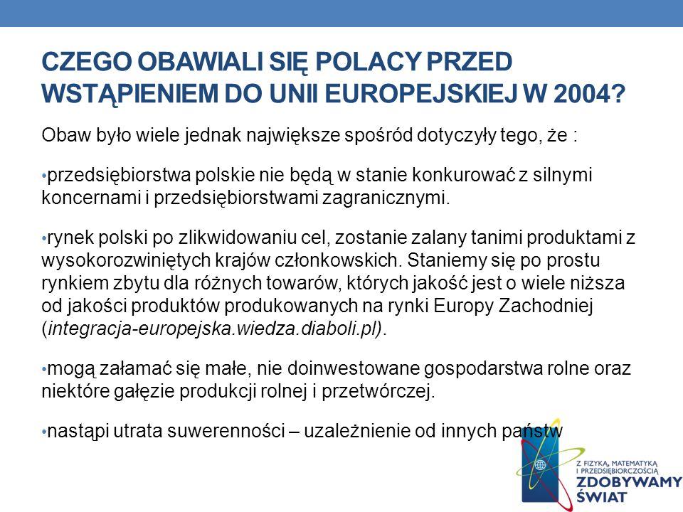 CZEGO OBAWIALI SIĘ POLACY PRZED WSTĄPIENIEM DO UNII EUROPEJSKIEJ W 2004? Obaw było wiele jednak największe spośród dotyczyły tego, że : przedsiębiorst