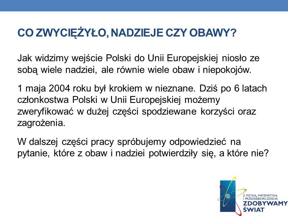 CO ZWYCIĘŻYŁO, NADZIEJE CZY OBAWY? Jak widzimy wejście Polski do Unii Europejskiej niosło ze sobą wiele nadziei, ale równie wiele obaw i niepokojów. 1