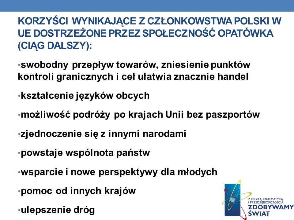 ZAGROŻENIA WYNIKAJĄCE Z CZŁONKOWSTWA POLSKI W UE WSKAZANE PRZEZ MIESZKAŃCÓW OPATÓWKA: Tylko 5 osób na 40 badanych stwierdziła, że nie jest zadowolona z wejścia Polski do UE.