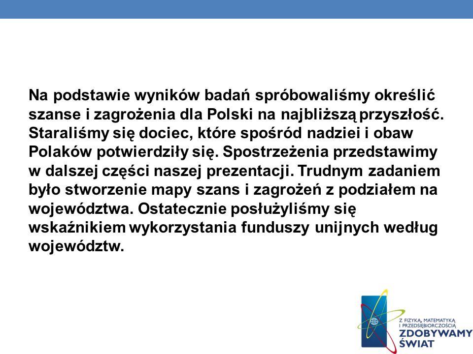 STATYSTYKA DOKONAŃ, SZANS I ZAGROŻEŃ POLSKI W UNII EUROPEJSKIEJ Najlepszym wskaźnikiem dla określenia szans i zagrożeń Polski w UE jest statystyczne ujęcie wykorzystania środków unijnych według województw.