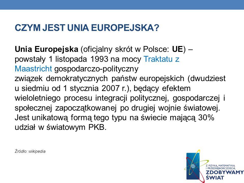CZYM JEST UNIA EUROPEJSKA? Unia Europejska (oficjalny skrót w Polsce: UE) – powstały 1 listopada 1993 na mocy Traktatu z Maastricht gospodarczo-polity