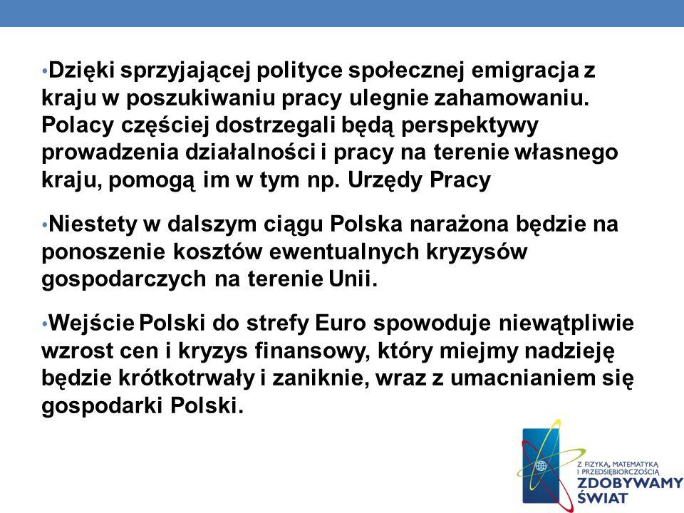 Dzięki sprzyjającej polityce społecznej emigracja z kraju w poszukiwaniu pracy ulegnie zahamowaniu. Polacy częściej dostrzegali będą perspektywy prowa