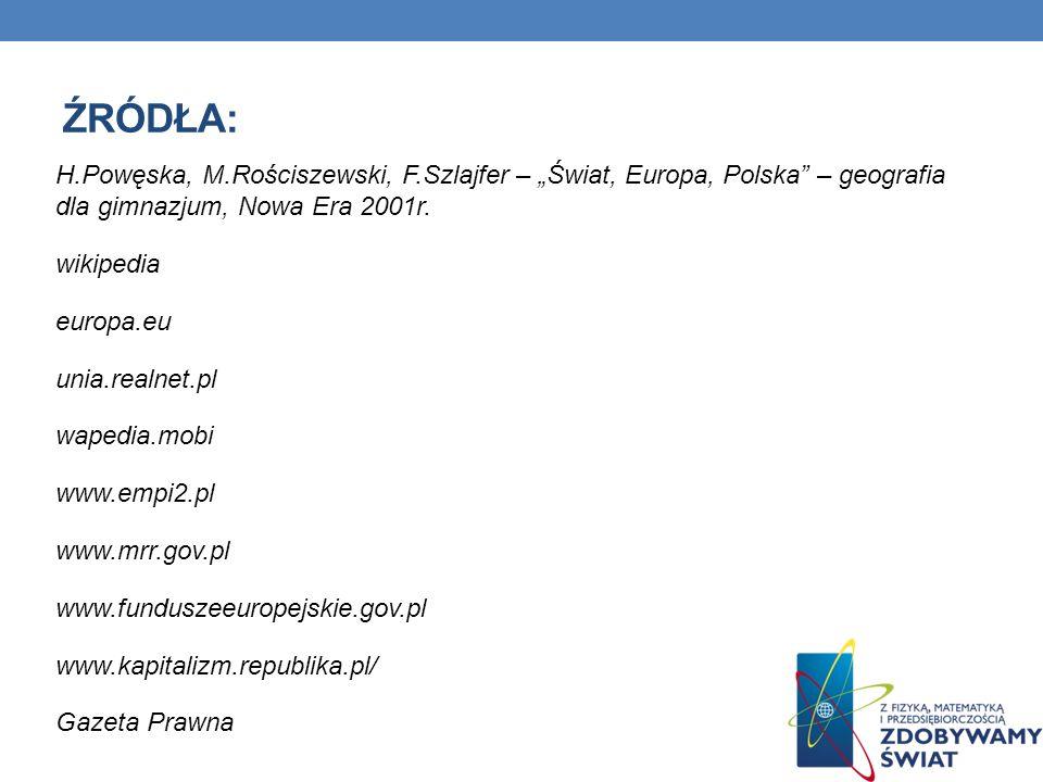 ŹRÓDŁA: H.Powęska, M.Rościszewski, F.Szlajfer – Świat, Europa, Polska – geografia dla gimnazjum, Nowa Era 2001r. wikipedia europa.eu unia.realnet.pl w