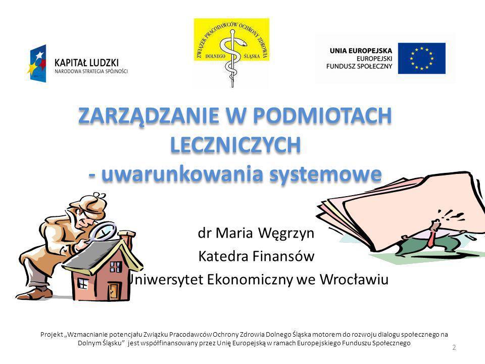 ZARZĄDZANIE W PODMIOTACH LECZNICZYCH - uwarunkowania systemowe dr Maria Węgrzyn Katedra Finansów Uniwersytet Ekonomiczny we Wrocławiu Projekt Wzmacnia