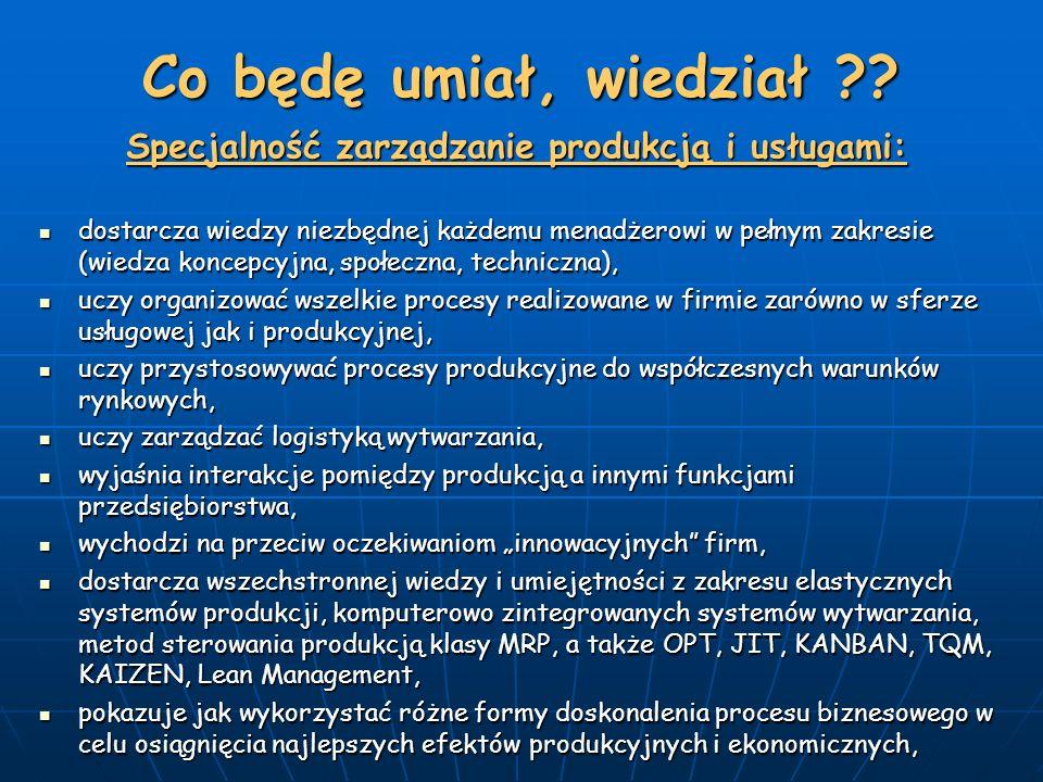 Co będę umiał, wiedział ?? Specjalność zarządzanie produkcją i usługami: dostarcza wiedzy niezbędnej każdemu menadżerowi w pełnym zakresie (wiedza kon