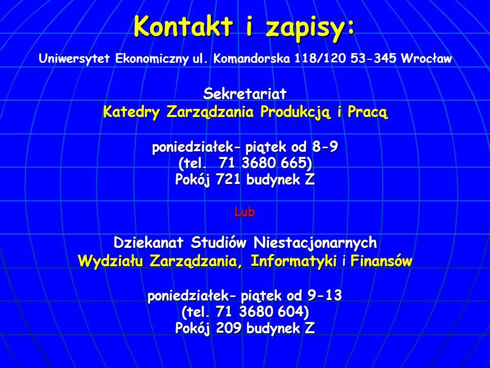 Kontakt i zapisy: Sekretariat Katedry Zarządzania Produkcją i Pracą poniedziałek- piątek od 8-9 (tel.