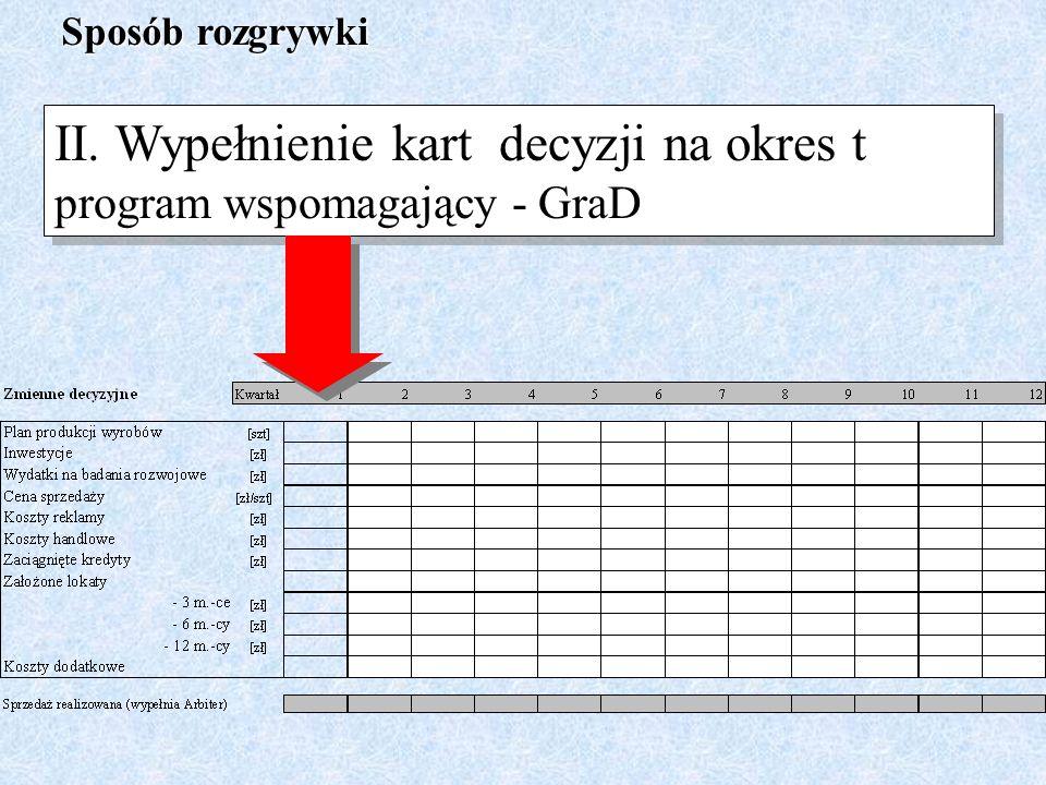 Sposób rozgrywki II. Wypełnienie kart decyzji na okres t program wspomagający - GraD II. Wypełnienie kart decyzji na okres t program wspomagający - Gr