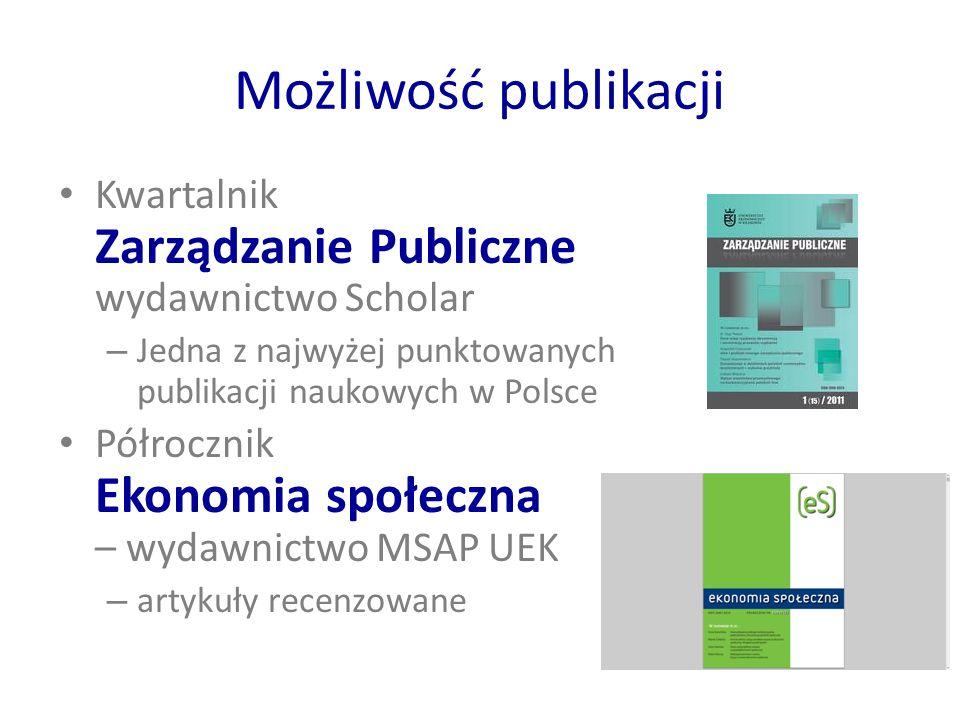 Możliwość publikacji Kwartalnik Zarządzanie Publiczne wydawnictwo Scholar – Jedna z najwyżej punktowanych publikacji naukowych w Polsce Półrocznik Ekonomia społeczna – wydawnictwo MSAP UEK – artykuły recenzowane