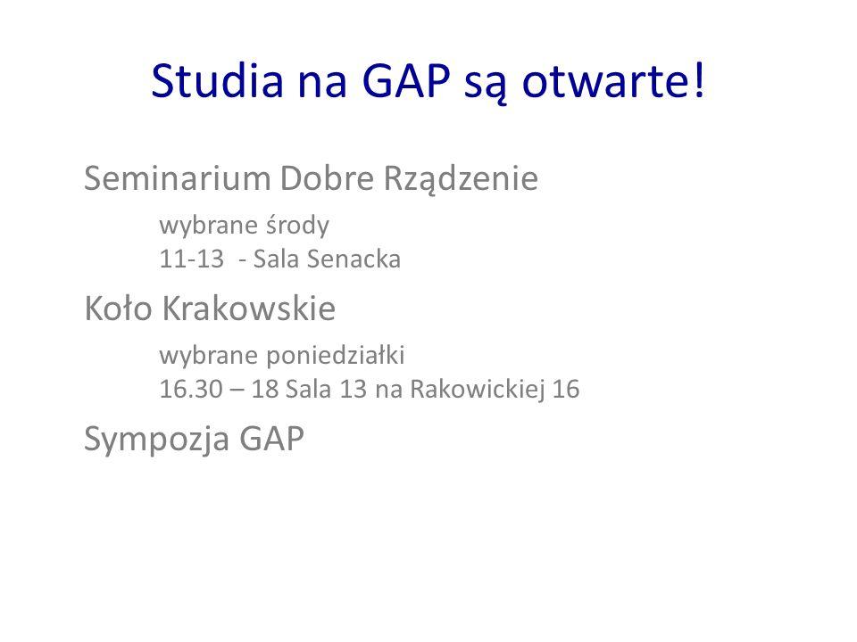 Studia na GAP są otwarte.