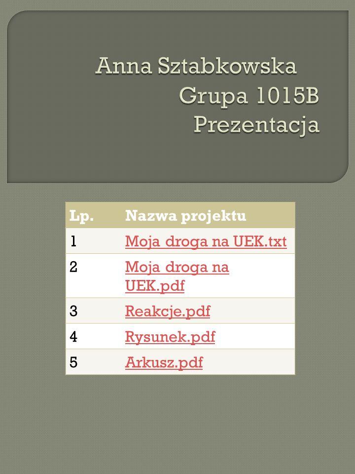 Lp.Nazwa projektu 1Moja droga na UEK.txt 2Moja droga na UEK.pdf 3Reakcje.pdf 4Rysunek.pdf 5Arkusz.pdf