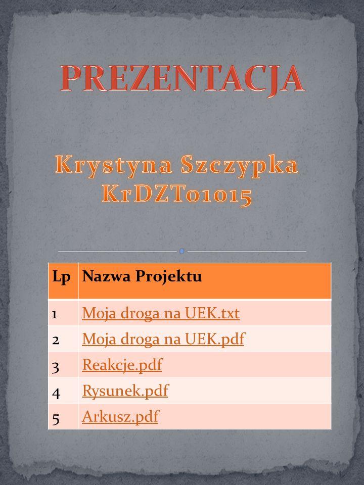 LpNazwa Projektu 1Moja droga na UEK.txt 2Moja droga na UEK.pdf 3Reakcje.pdf 4Rysunek.pdf 5Arkusz.pdf