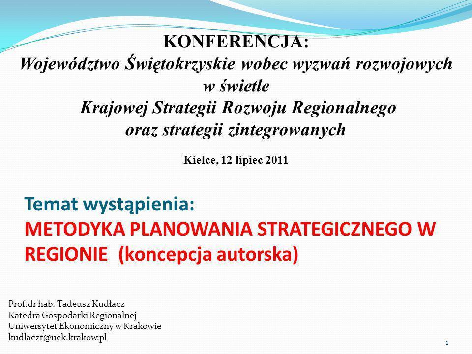 Temat wystąpienia: METODYKA PLANOWANIA STRATEGICZNEGO W REGIONIE (koncepcja autorska) Prof.dr hab.