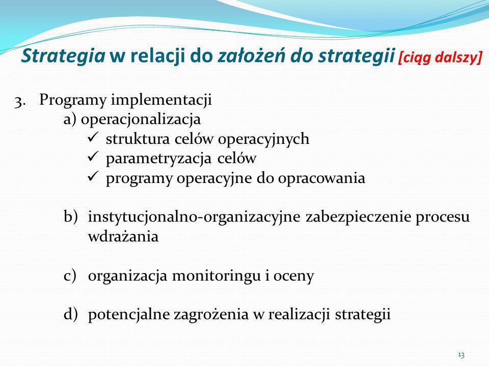 Strategia w relacji do założeń do strategii [ciąg dalszy] 13 3.Programy implementacji a) operacjonalizacja struktura celów operacyjnych parametryzacja celów programy operacyjne do opracowania b)instytucjonalno-organizacyjne zabezpieczenie procesu wdrażania c)organizacja monitoringu i oceny d)potencjalne zagrożenia w realizacji strategii