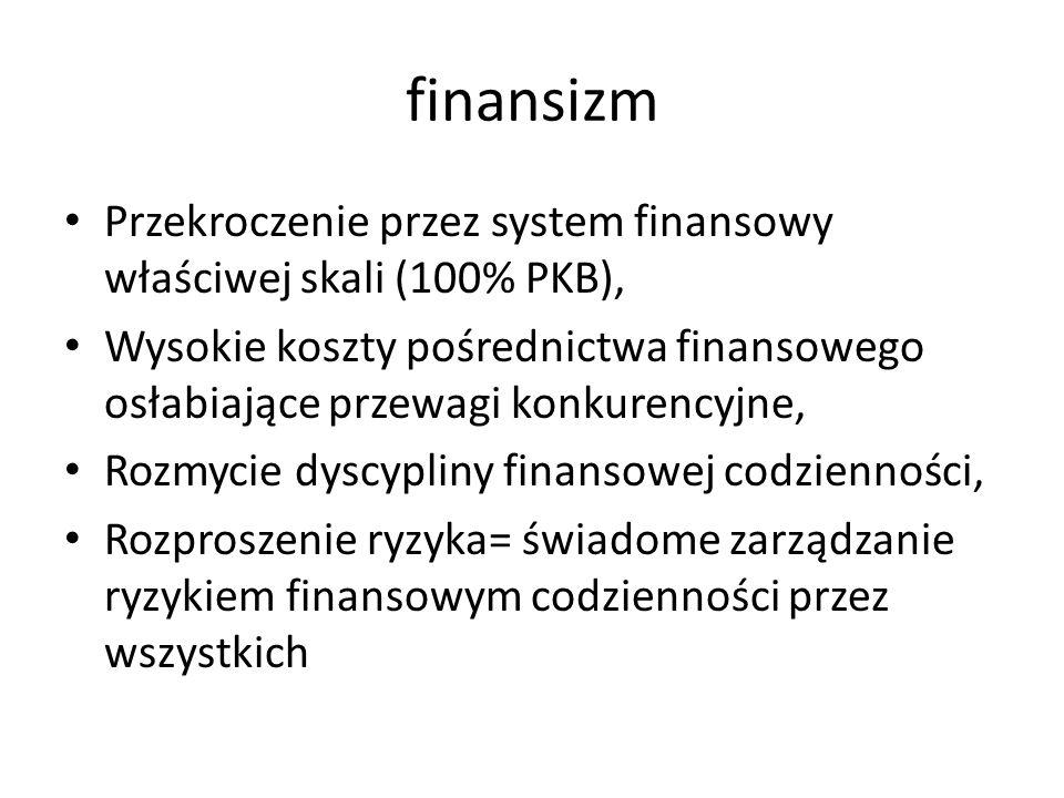 finansizm Przekroczenie przez system finansowy właściwej skali (100% PKB), Wysokie koszty pośrednictwa finansowego osłabiające przewagi konkurencyjne, Rozmycie dyscypliny finansowej codzienności, Rozproszenie ryzyka= świadome zarządzanie ryzykiem finansowym codzienności przez wszystkich