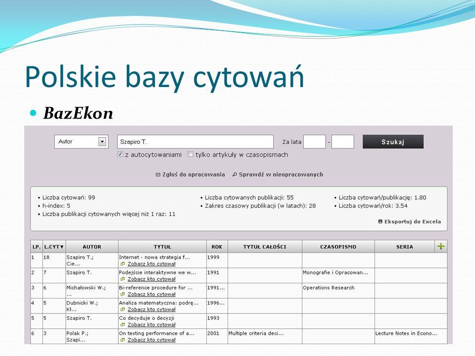 Polskie bazy cytowań BazEkon