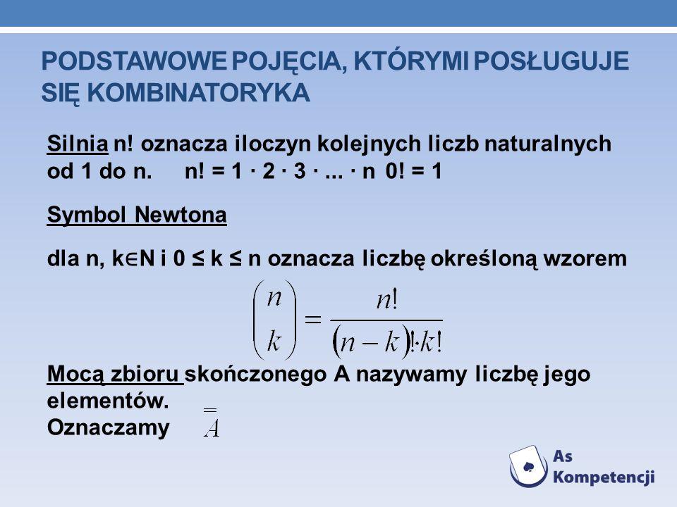 PODSTAWOWE POJĘCIA, KTÓRYMI POSŁUGUJE SIĘ KOMBINATORYKA Silnia n! oznacza iloczyn kolejnych liczb naturalnych od 1 do n. n! = 1 · 2 · 3 ·... · n0! = 1