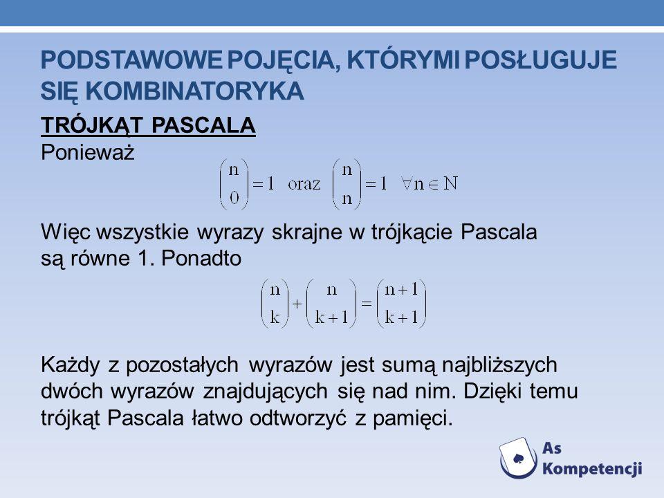 PODSTAWOWE POJĘCIA, KTÓRYMI POSŁUGUJE SIĘ KOMBINATORYKA TRÓJKĄT PASCALA Ponieważ Więc wszystkie wyrazy skrajne w trójkącie Pascala są równe 1. Ponadto