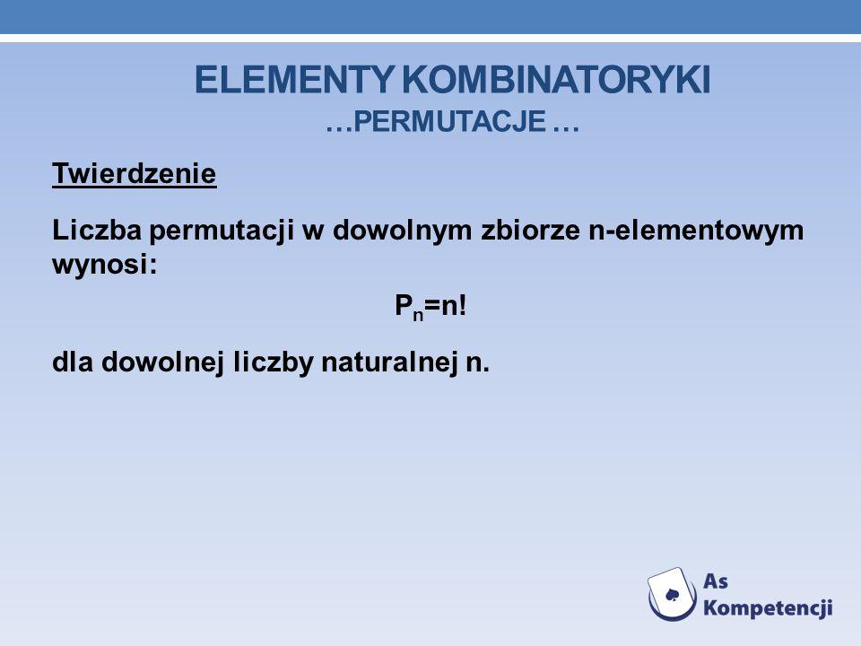 ELEMENTY KOMBINATORYKI …PERMUTACJE … Twierdzenie Liczba permutacji w dowolnym zbiorze n-elementowym wynosi: P n =n! dla dowolnej liczby naturalnej n.