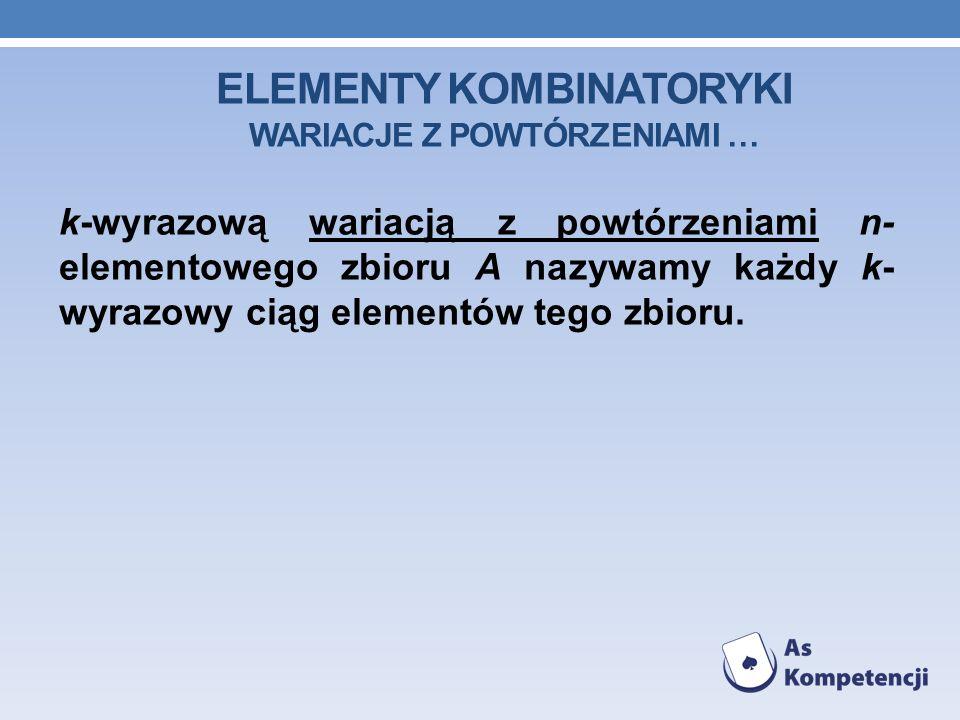 ELEMENTY KOMBINATORYKI WARIACJE Z POWTÓRZENIAMI … k-wyrazową wariacją z powtórzeniami n- elementowego zbioru A nazywamy każdy k- wyrazowy ciąg elementów tego zbioru.