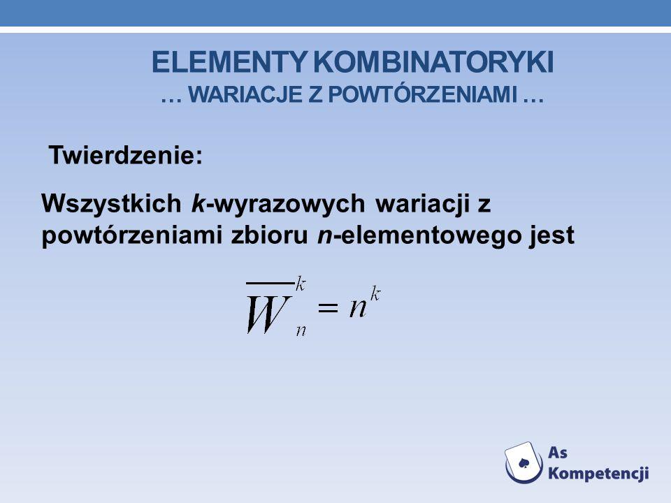 ELEMENTY KOMBINATORYKI … WARIACJE Z POWTÓRZENIAMI … Twierdzenie: Wszystkich k-wyrazowych wariacji z powtórzeniami zbioru n-elementowego jest