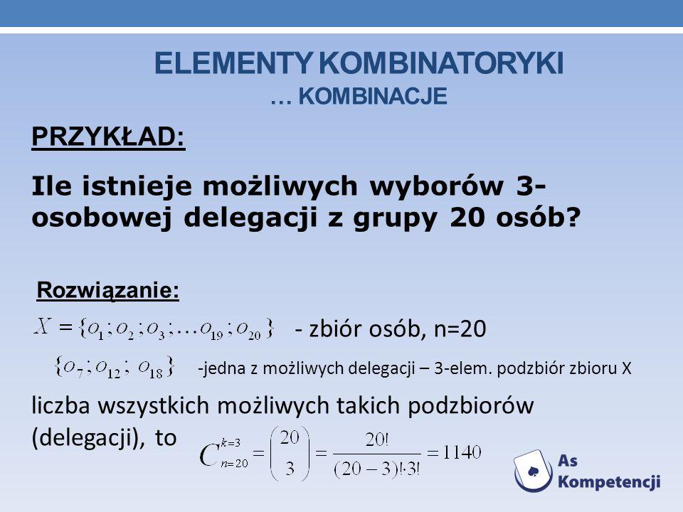 ELEMENTY KOMBINATORYKI … KOMBINACJE PRZYKŁAD: Ile istnieje możliwych wyborów 3- osobowej delegacji z grupy 20 osób.