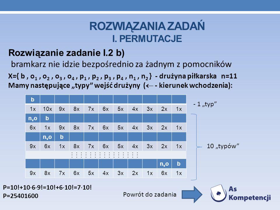 ROZWIĄZANIA ZADAŃ I. PERMUTACJE Rozwiązanie zadanie I.2 b) bramkarz nie idzie bezpośrednio za żadnym z pomocników Powrót do zadania X={ b, o 1, o 2, o