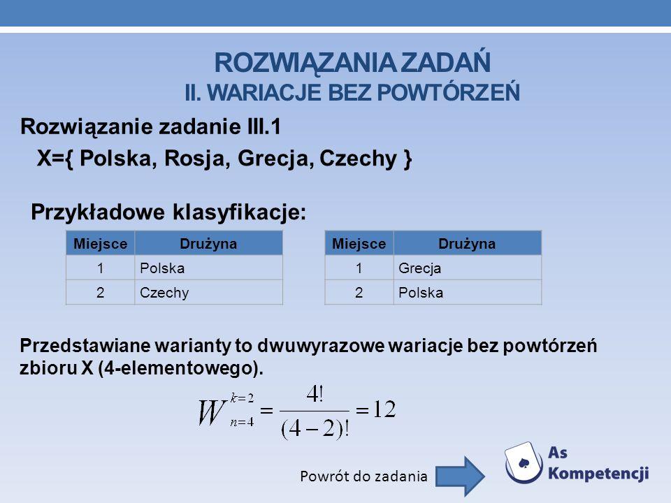 ROZWIĄZANIA ZADAŃ II. WARIACJE BEZ POWTÓRZEŃ Rozwiązanie zadanie III.1 Powrót do zadania X={ Polska, Rosja, Grecja, Czechy } Przykładowe klasyfikacje: