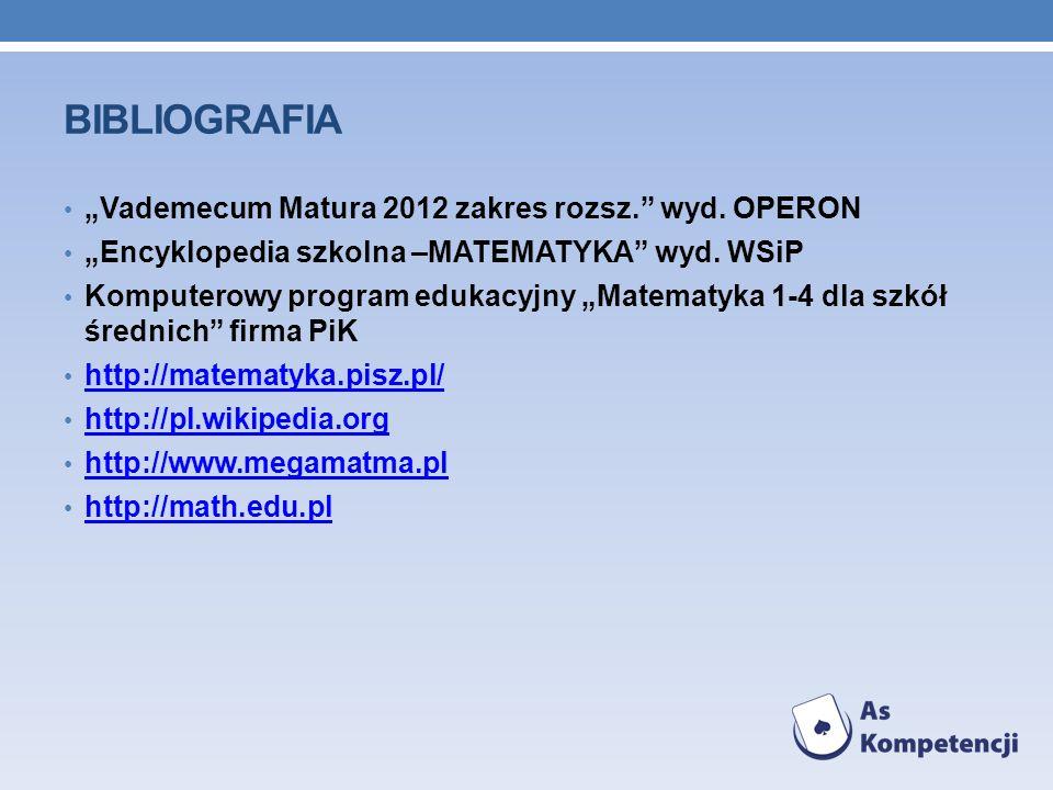 BIBLIOGRAFIA Vademecum Matura 2012 zakres rozsz. wyd. OPERON Encyklopedia szkolna –MATEMATYKA wyd. WSiP Komputerowy program edukacyjny Matematyka 1-4