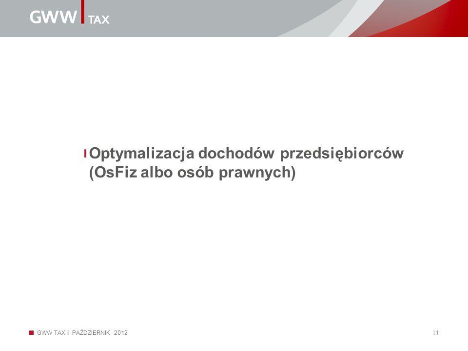 GWW TAX I PAŹDZIERNIK 2012 11 Optymalizacja dochodów przedsiębiorców (OsFiz albo osób prawnych)
