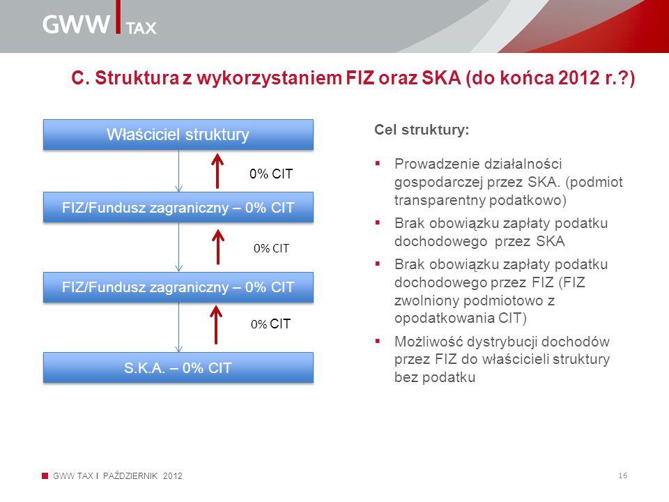 GWW TAX I PAŹDZIERNIK 2012 16 C. Struktura z wykorzystaniem FIZ oraz SKA (do końca 2012 r.?) Cel struktury: Prowadzenie działalności gospodarczej prze