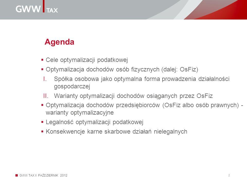 GWW TAX I PAŹDZIERNIK 2012 2 Agenda Cele optymalizacji podatkowej Optymalizacja dochodów osób fizycznych (dalej: OsFiz) I.Spółka osobowa jako optymaln