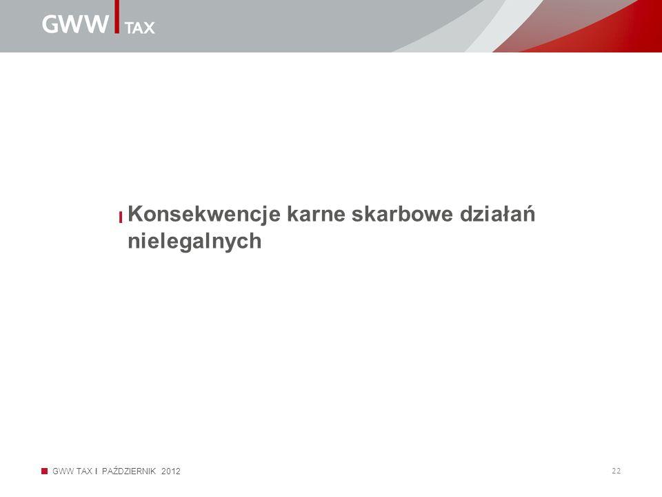 GWW TAX I PAŹDZIERNIK 2012 22 Konsekwencje karne skarbowe działań nielegalnych